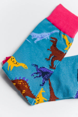 Load image into Gallery viewer, Sock Society Dinosaur Cotton Socks Blue/Pink