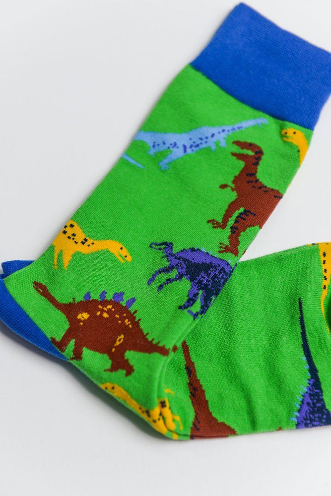Load image into Gallery viewer, Sock Society Dinosaur Cotton Socks Green/Blue