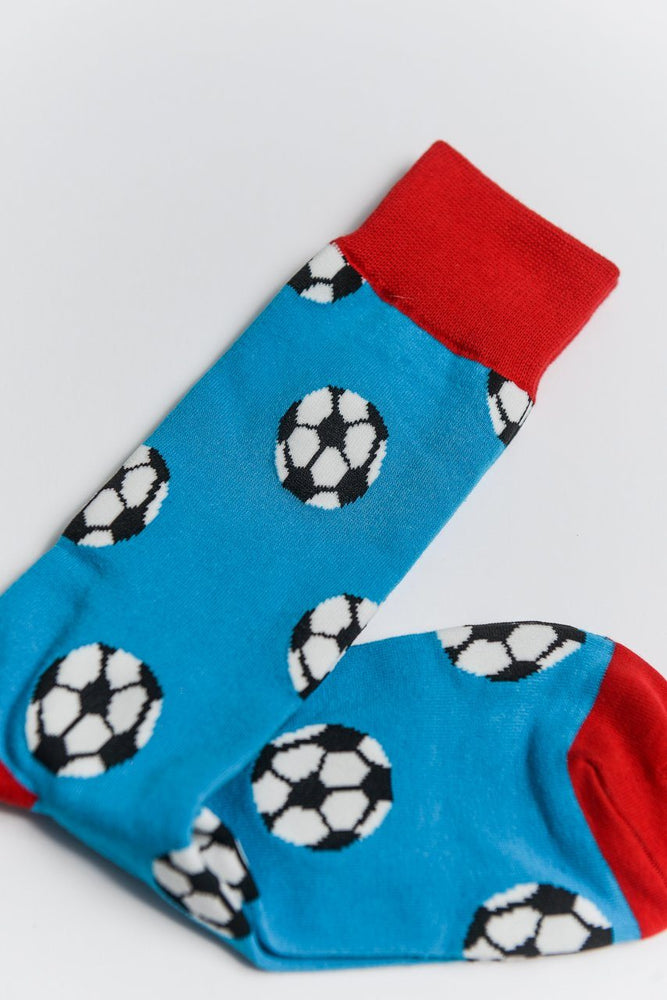 Sock Society Football Cotton Socks Blue/Red