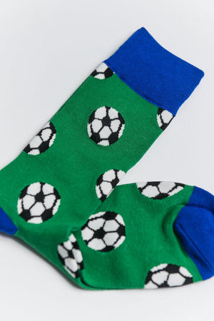 Sock Society Football Cotton Socks Green/Blue