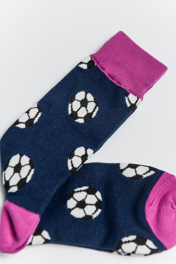 Sock Society Football Cotton Socks Navy/Pink