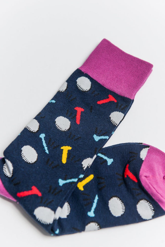 Sock Society Golf Cotton Socks Navy/Pink