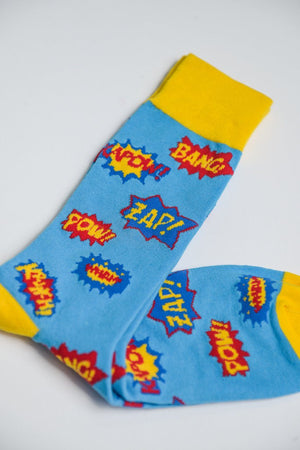 Sock Society Pow Cotton Socks Blue/Yellow