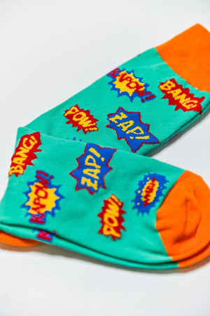 Sock Society Pow Cotton Socks Green/Orange