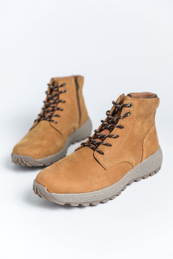Woodland Nubuck Leather Casual Boots - Light Tan