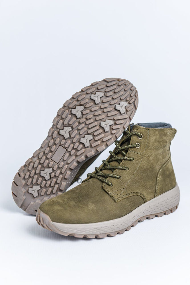 Woodland Nubuck Leather Casual Boots - Olive