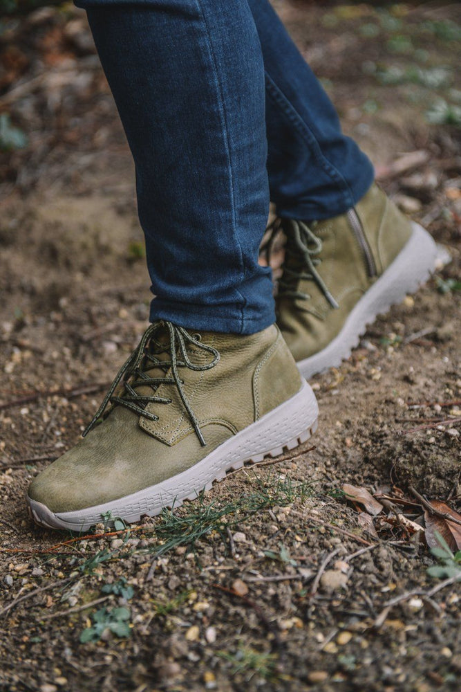 Woodland Nubuck Leather Casual Boots - Olive Olive UK 7