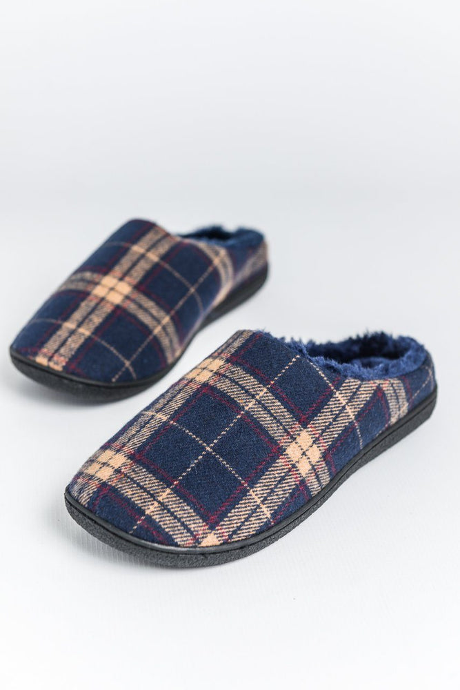 Zedzzz Navy Check Slippers