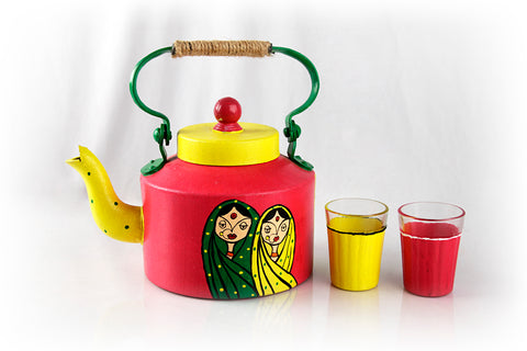 Desi Women Hand Painted Kettle