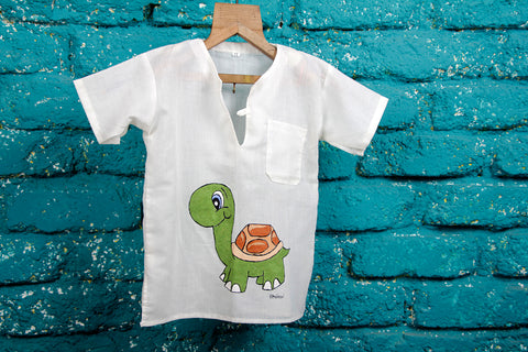 Turtle Hand Painted Bandi (Cotton Shirt)