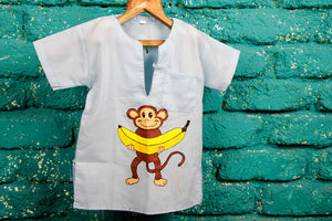Monkey Hand Painted Bandi (Cotton Shirt)