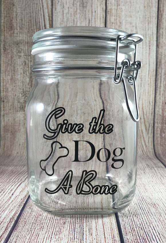 Give the Dog A Bone - Dog Treat Jar - 1L Size - Glass