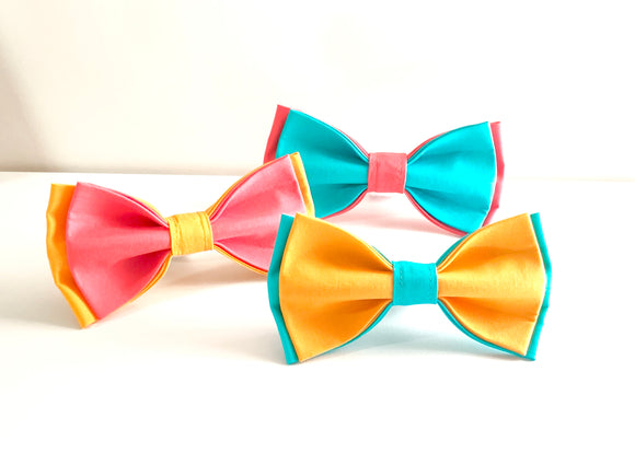 Double-Up Summertime Bow Tie - Hook and Loop Closure- For Pets