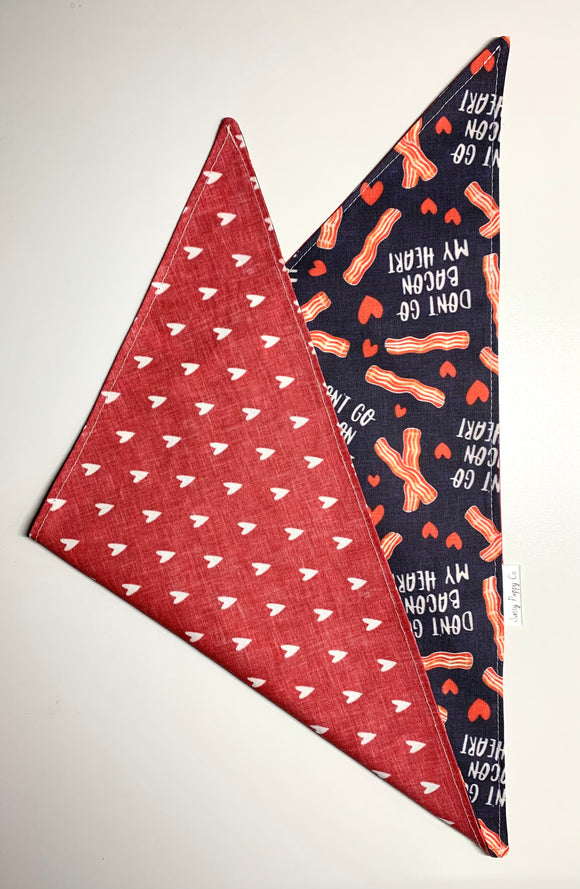 Bacon My Heart - Pet Bandana - Love - Valentine's Day - Snapdana - Over The Collar