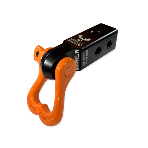 "Moose Knuckle XL Obscene Orange 3/4"" D-Ring Shackle and Mohawk 2.0 Shackle Receiver Combo for off-road vehicle recovery and towing."