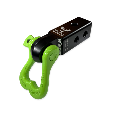 "Moose Knuckle XL Sublime Green 3/4"" D-Ring Shackle and Mohawk 2.0 Shackle Receiver Combo for off-road vehicle recovery and towing."