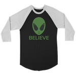 T-shirt Canvas Unisex 3/4 Raglan / Black/White / S BELIEVE Raglan CANVAS 3/4 Sleeve T-Shirt
