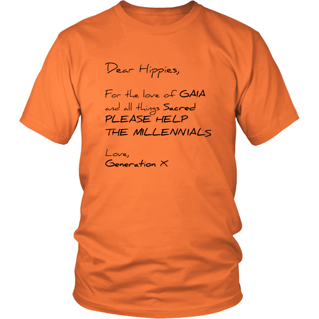 T-shirt District Unisex Shirt / Orange / S Dear Hippies Letter T-Shirt