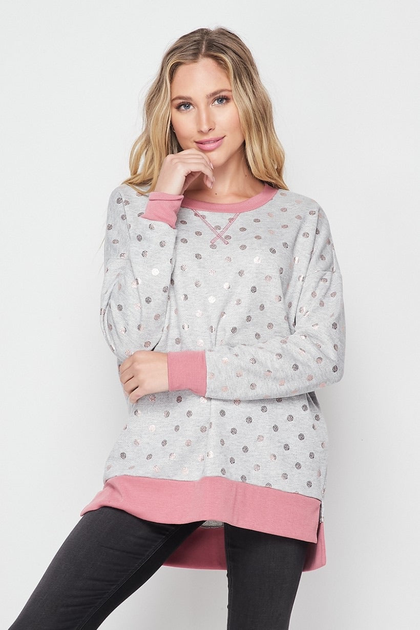 Pink Metallic Dot Sweatshirt