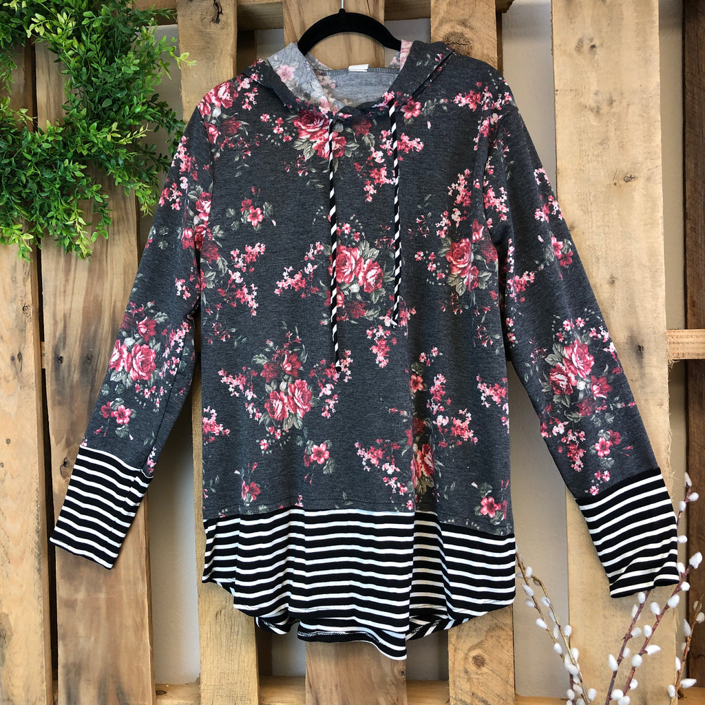 Floral Stripe Accent Hoodie