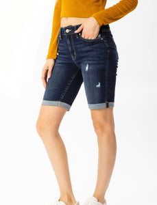Kan Can Kimm Mid Rise Bermuda Shorts - Dark Wash