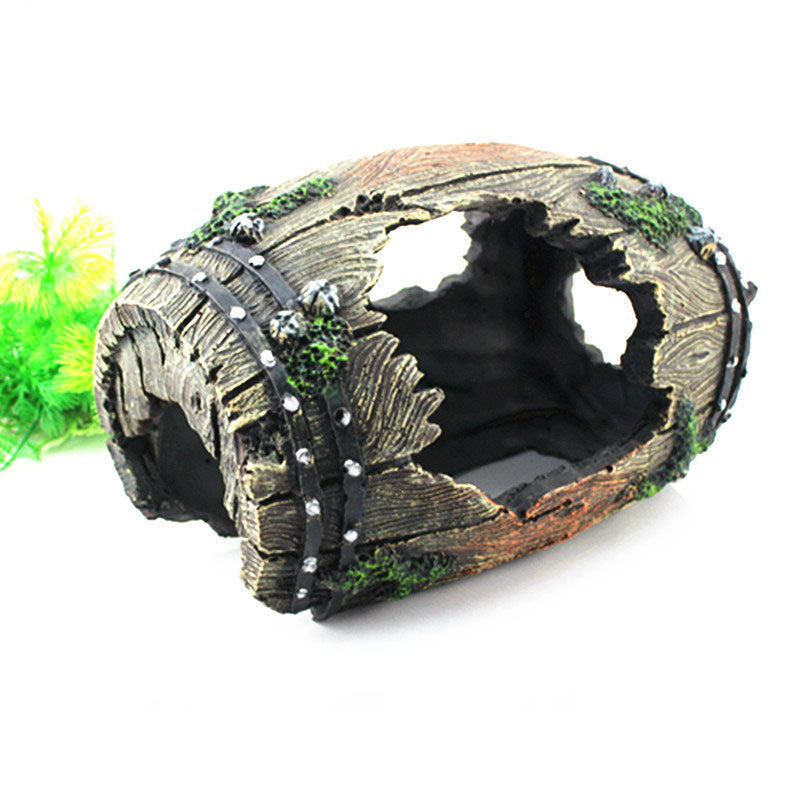 Resin Barrel Hide Cave reptile turtle box Aquarium Fish Tank Artificial Barrel Resin Ornament Cave Landscaping Decoration - Turtle Needs