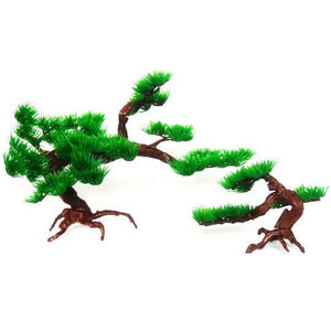 New Fisherman Decorative Plant plastic Pine Tree Aquarium Fish Tank Rockery Bonsai Ornament For Turtle fish tank - Turtle Needs