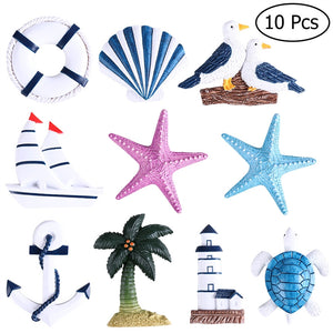 WINOMO 10Pcs Nautical Beach Boat Ship Turtle Sea Star Shell Hanging Ornaments Anchor Home Wall Decor - Turtle Needs