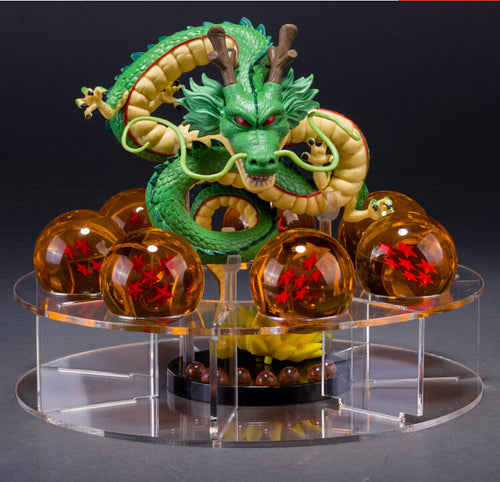 Shenron Action Figure Shenlong Dragon Ball With Balls Set + 7PCS Crystal Dragonballs + Acrylic Shelf - Douhal
