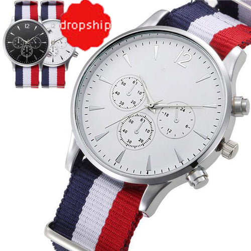 Bracelet Canvas Mens Analog Watch High Quality - Douhal
