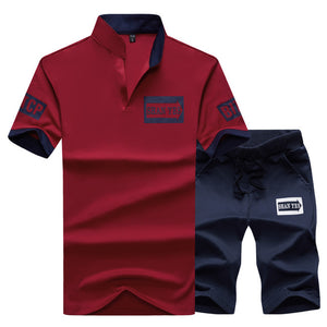 Polo Suits Summer 2PC Top Short Set Men's Stand Collar Fashion - Douhal