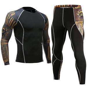 MMA Men Compression Sets Base Layer Tight Pants Workout Fitness Bodybuilding - Douhal