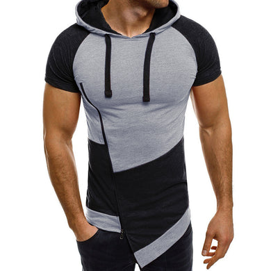 Men Short Sleeve Muscle Casual Tops Slanted Zipper Patchwork Irregular Sweatshirts - Douhal