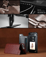 Load image into Gallery viewer, Leather Case For iPhone Multi Card Holders Case Cover For iPhone 8 7 6 6s Plus - Douhal