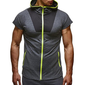 Mens Short Sleeve Hooded Sweatshirt Casual Zipper Hoodies For Mens Summer - Douhal