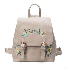 Women's Backpack Girl Backpack Flower Embroidered Flower Backpack - Douhal
