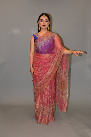Handmade Silk Thulian Pink Embroidered Saree