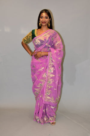 Silk Taffy Pink Embroidered Saree