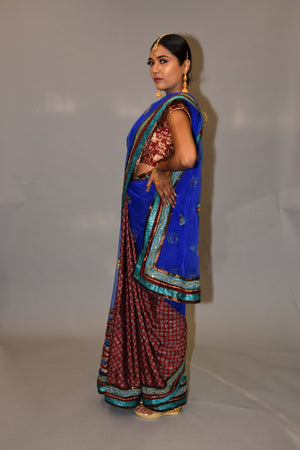 Silk Embroidered Carmine Red With Contrast Egyptian Blue Mesh Net Saree