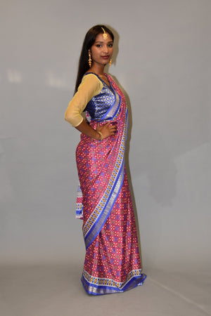 Silk Ruby Pink & Egyptian Blue Printed saree