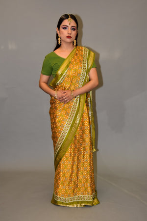 Silk Mustard Yellow And Pickle Green Printed Saree