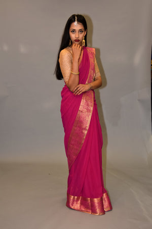 Raspberry Pink With Gold Georgette Silk Saree