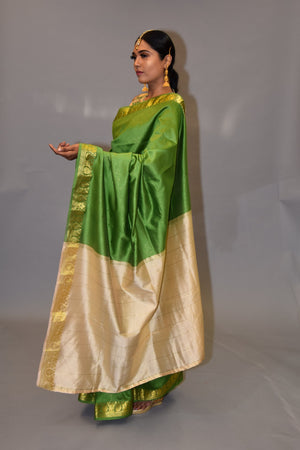 Shamrock Green With Contrast Gold Silk Saree