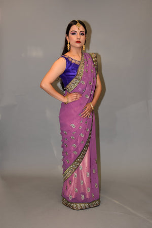 Silk Georgette Lilac Purple Embroidered Saree