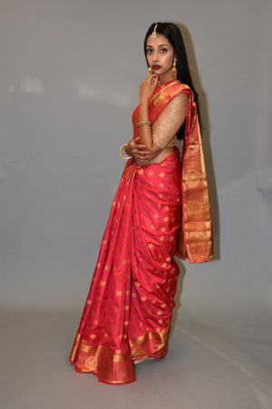 Banarasi Silk Cerise Pink With Gold Border saree