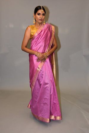 Silk Bubblegum Pink Saree With Linen White Pallu