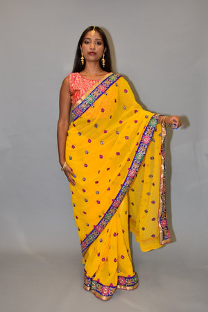 Embroidered Georgette Cyber Yellow saree