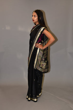 Silk Crow Black With Gold Border Saree