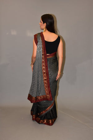 Silk Lava & Shadow Grey Shaded Self Printed saree