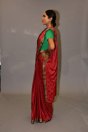 Silk Carmine Red With Umber Brown Border Saree